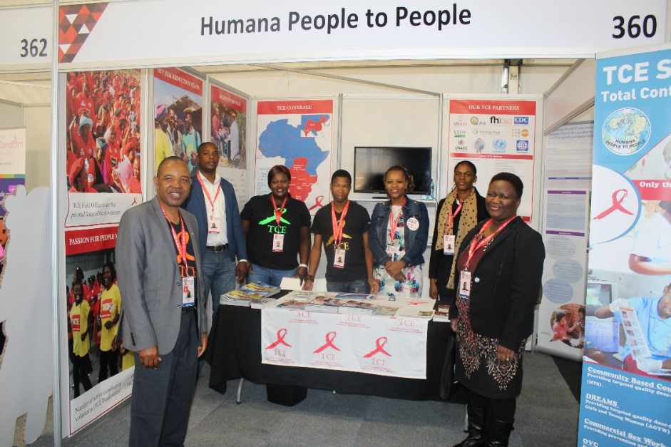 The HPP display stall at the 2016 AIDS Conference, Country Director Mr. Moses Juma Zulu, with some delegates from Ministry of Health and NACA
