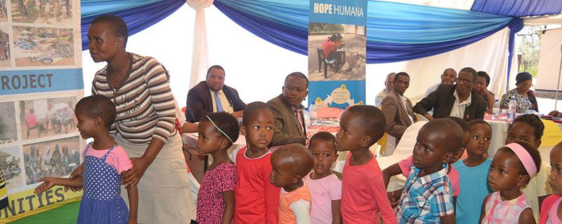 Children Lining Up at Event Mabutsane